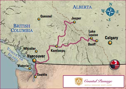 Rocky Mountaineer Coastal Passage Route