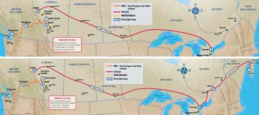 Trans-Canada Rail Route Map