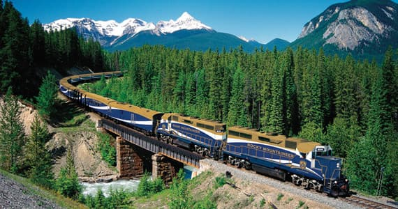 The Rocky Mountaineer train crossing Ottertail Creek
