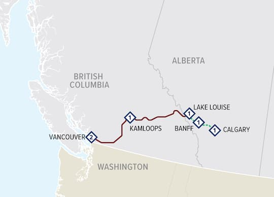 First Passage to the West Highlights with Vancouver Tour map